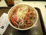 ねぎキムチ牛丼「すき家」@長堀橋